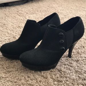 Shoes - Amazing black suede heels with button detail